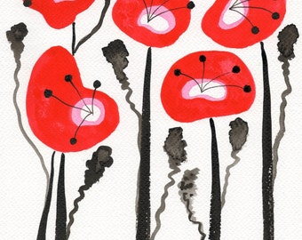 Abstract Flowers - Watercolor Flower Painting - Watercolor Painting - Giclee - Floral Garden Landscape
