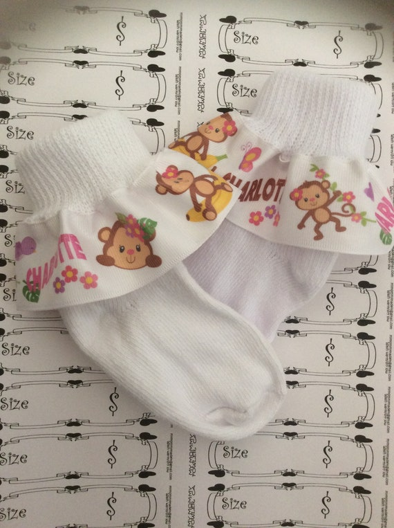 Ruffle Ribbon Personalized Socks MTM Kitty Inspired for Girl Girls Pink Flowers