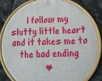 Dating Sim Bad Ending Cross Stitch