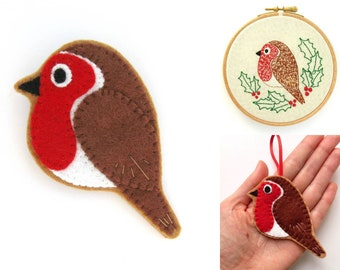 Robin PDF Pattern - Felt Bird Sewing Tutorial and Embroidery Pattern, sew bird brooches, Christmas ornaments, and festive robin hoop art