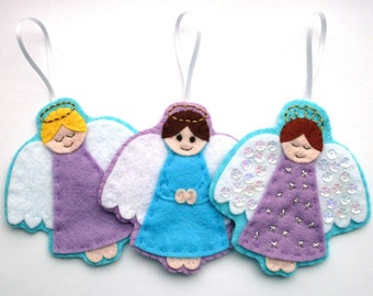 Angels PDF Pattern – Felt Christmas Ornament Sewing Tutorial and Embroidery Pattern, make cute felt guardian angel decorations!
