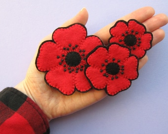 Poppies PDF Pattern - Easy Felt Flower Sewing Tutorial and Embroidery Pattern, sew pretty beaded poppy brooches, headbands and hairclips