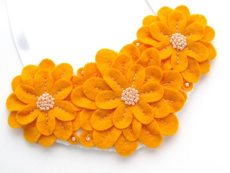 SAMPLE  Beaded Felt Flower Necklace orange floral statement image 0