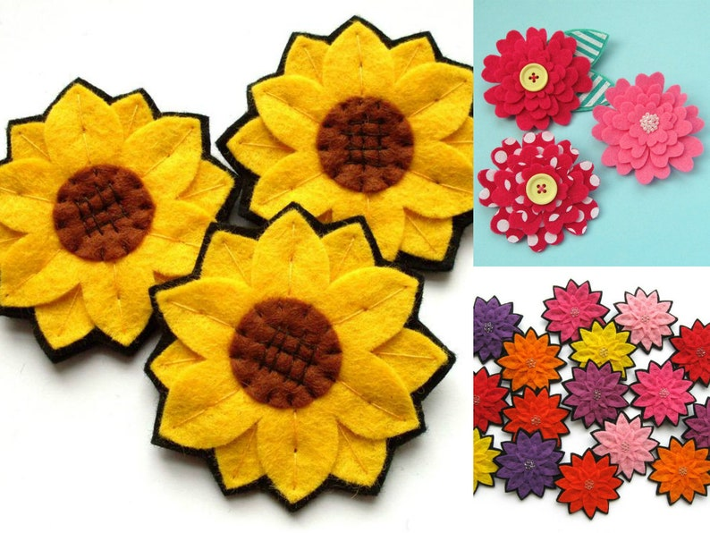 Felt Flowers 3 PDF Patterns  sew sunflowers dahlias & image 0