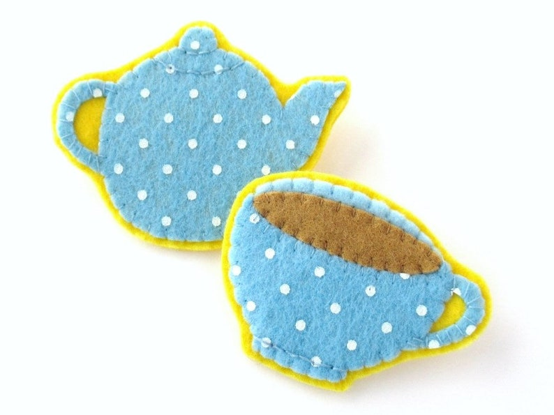 Teapot & Teacup PDF Pattern easy printable felt brooch sewing image 0
