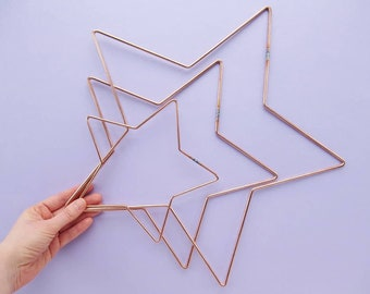 3 Star Shaped Hoops for Wreath Making, Macrame, & lots of other crafts, 8, 12, or 16 inches, copper coloured metal, stars, DIY