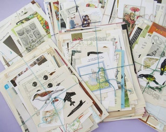 Bumper Vintage Paper Pack: Lucky Dip Mystery Bundle - 250g or 500g, lots of pages and clippings from vintage books & magazines - UK Seller