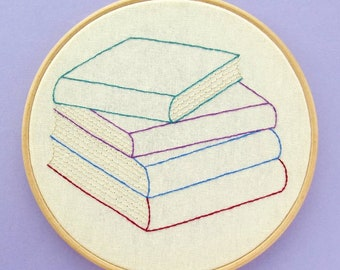 Stack of Books PDF Embroidery Pattern, a customisable embroidery design for book lovers! Easy to sew, add your fave book titles or authors.