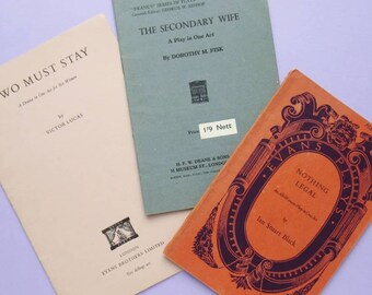 3 Vintage One Act Play Scripts: Two Must Stay, The Secondary Wife, & Nothing Legal