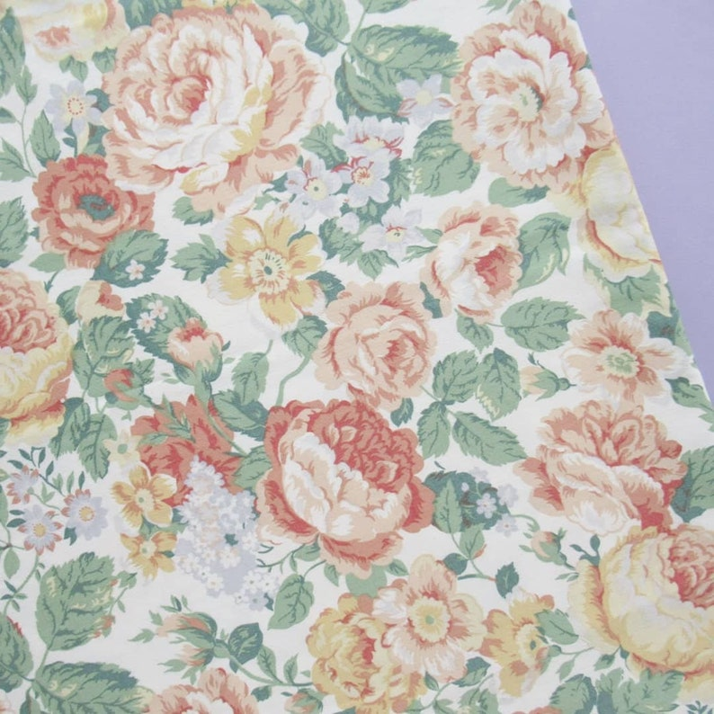 Peach Floral Upholstery Fabric Roses 156 x 115 cm image 0