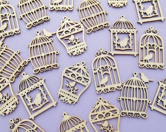 20 Wooden Birdcages, box of small wood shapes, card toppers, craft supplies, birds
