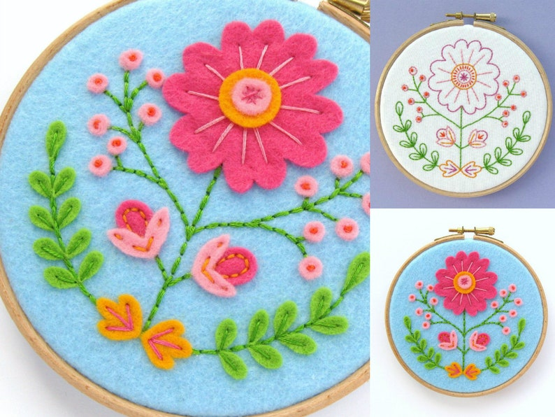 Folk Floral Hoop Art PDF Felt Sewing Tutorial & Embroidery image 0