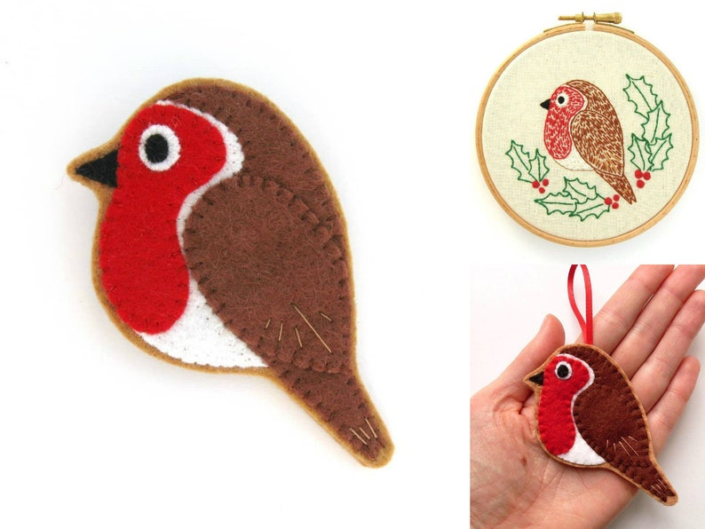 Robin PDF Pattern  Felt Bird Sewing Tutorial and Embroidery image 0