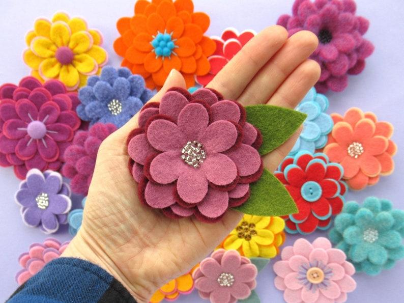 Flexible Flowers PDF Pattern  Easy Felt Flower Sewing image 0