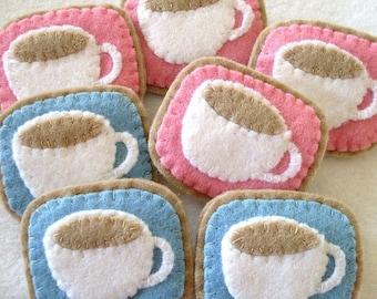 Little Teacup PDF Pattern, sweet felt brooch sewing tutorial, tea or coffee cup, DIY, hand sewing, teatime, tea party, step by step, cute
