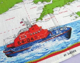 Vintage Tea Towel: RNLI Lifeboat Stations Map, by Ulster, Irish linen, unused