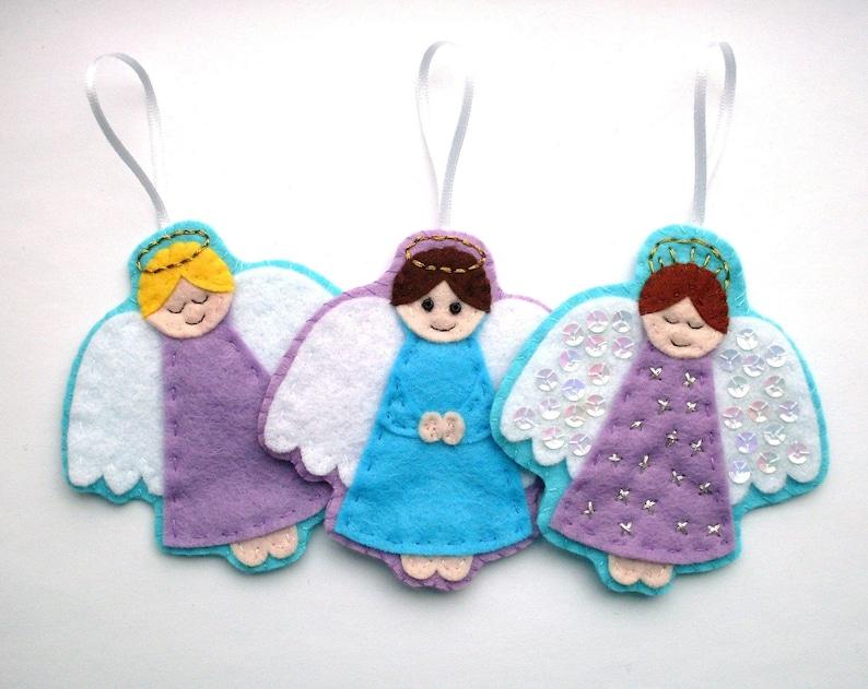 Angels PDF Pattern  Felt Christmas Ornament Sewing Tutorial image 0