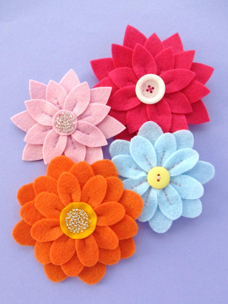 Fabulous Flowers PDF Pattern  Easy Felt Flower Sewing image 0
