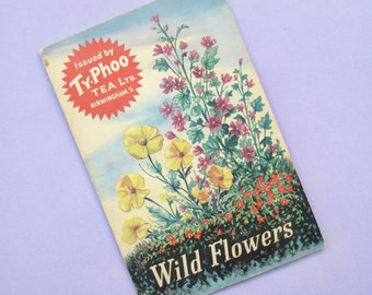"""Complete Album of 24 Typhoo Tea """"Wild Flowers"""" cards, removable, vintage, approx 1960s, great to frame or display, or use for paper crafts"""