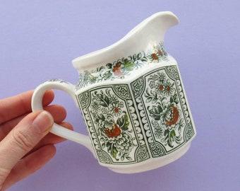 Vintage Jug, Ridgway, Canterbury Pattern, small, green, white, orange, floral, home decor, ceramics, retro pottery, vase