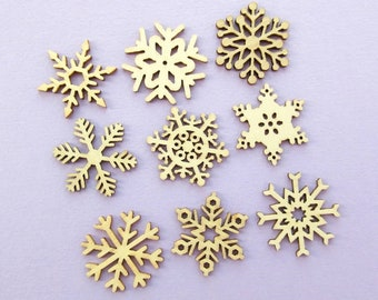 Box of 45 Little Wooden Snowflakes, Christmas Craft Supplies, card making, crafts, festive, winter, snow, snowflake, wood, mix of designs