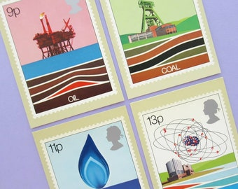 Energy: Unused Vintage Postcards, Royal Mail PHQ stamp card set, oil, coal, gas, electricity, 1970s, 70s illustration, retro stationery