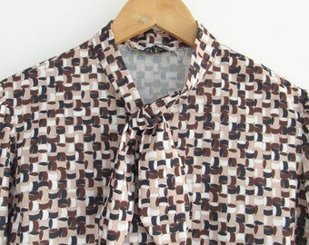 Vintage Blouse: Brown Geometric Pattern, polyester, ties at the neck, retro, 1970s