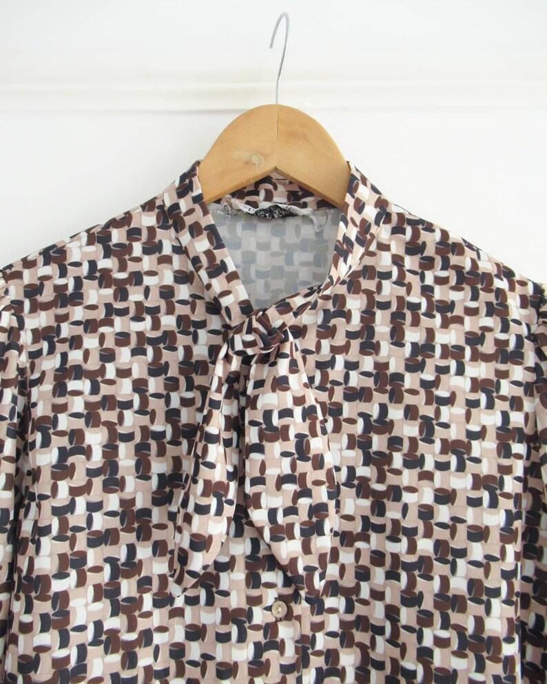 Vintage Blouse: Brown Geometric Pattern polyester ties at image 0