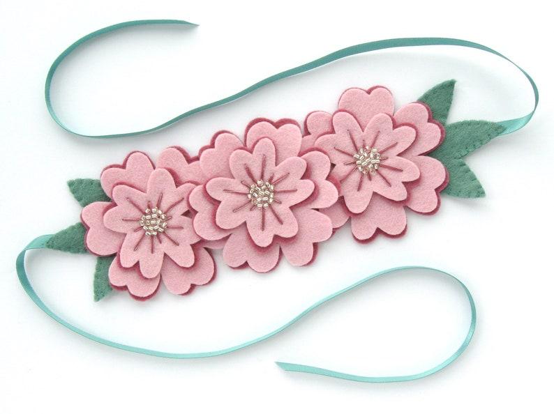 SAMPLE  Large Beaded Felt Flower Headband or Crown pretty image 0