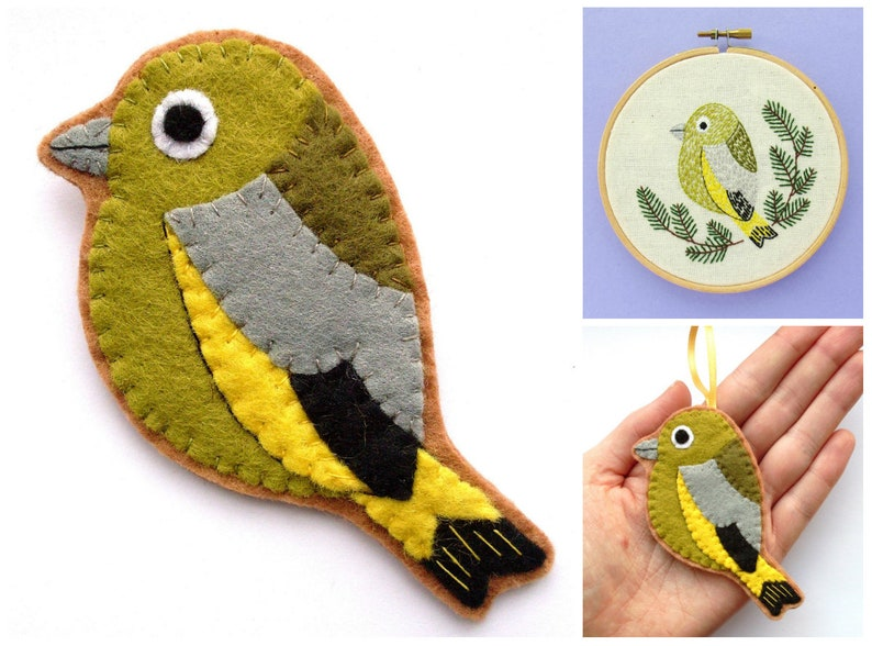 Greenfinch PDF Pattern  Felt Bird Sewing Tutorial and image 0