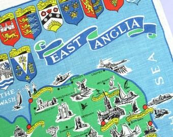 Vintage Tea Towel: East Anglia map, souvenir tea towel, Ulster, Irish linen, unused (slightly faded)