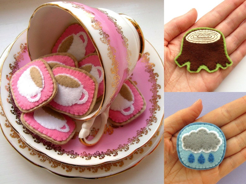 Felt Brooches 3 PDF Patterns  sew cute teacups rainclouds image 0