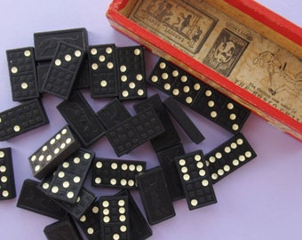 Set of Vintage Wooden Dominoes, black with white dots, great for jewellery making and other craft projects!