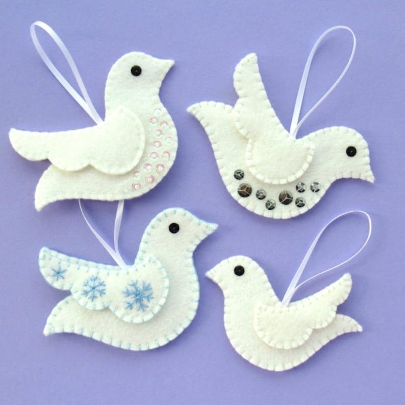 Doves PDF Pattern  Felt Christmas Ornament Sewing Tutorial image 0