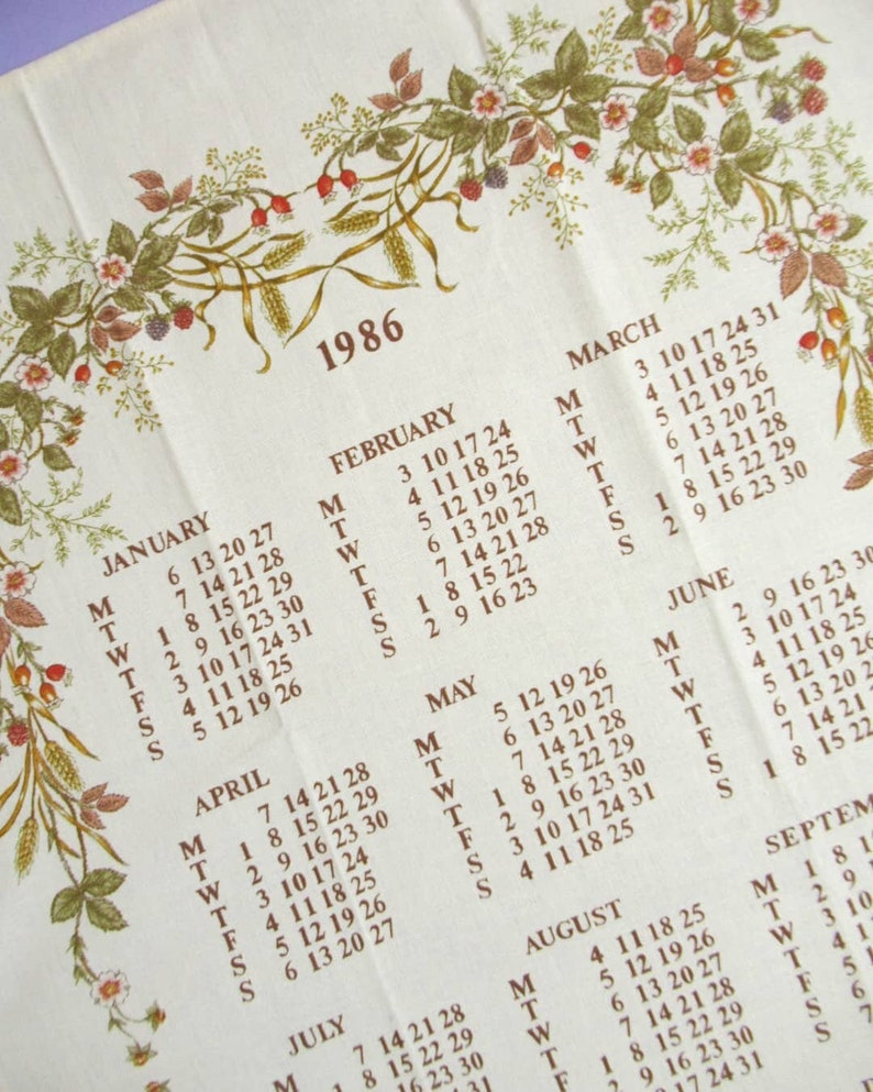 Vintage Tea Towel: 1986 Calendar St Michael Marks & image 0