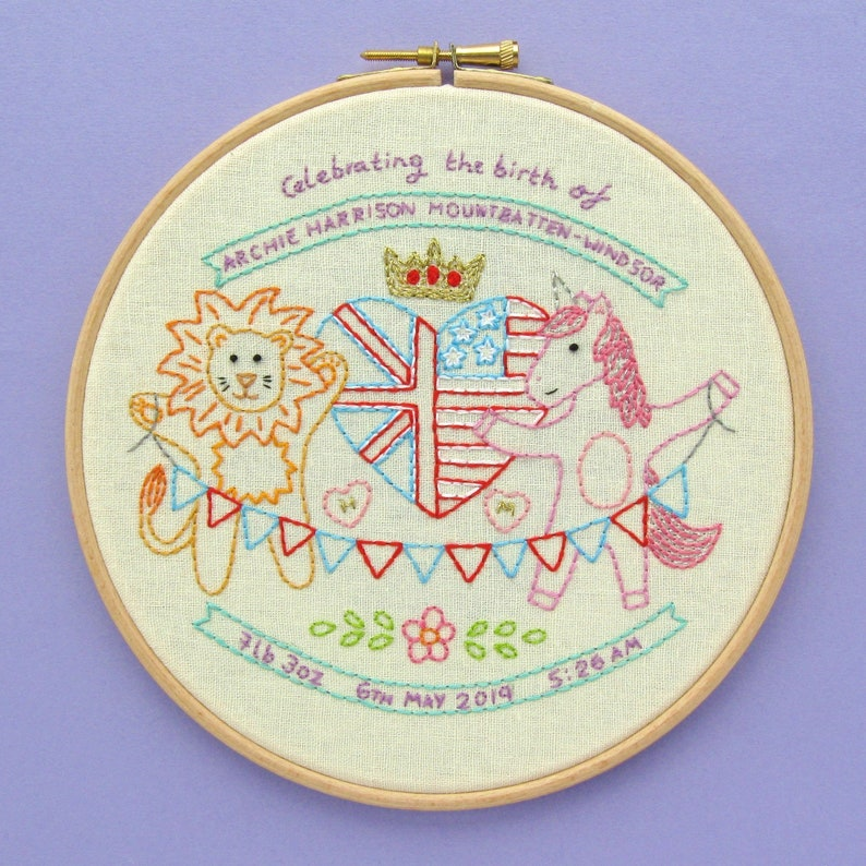 SAMPLE  Royal Baby Embroidery Archie Harrison Mountbatten image 0