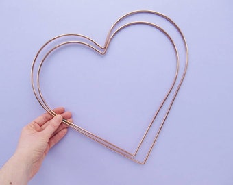 Heart Shaped Hoops for Wreath Making, Macrame, & lots of other crafts, 12, or 14 inches, copper coloured metal, hearts, DIY, wedding, love
