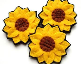 Sunflowers PDF Pattern - sewing tutorial for making easy felt sunflower brooches - beginner, felt flower, DIY, spring summer craft, how to