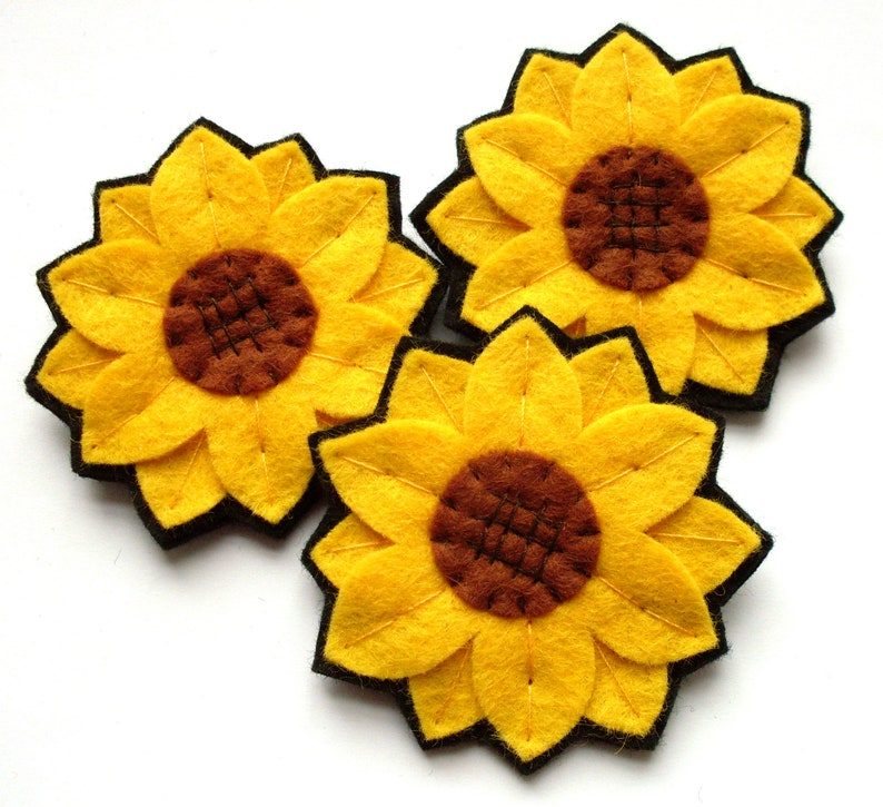 Sunflowers PDF Pattern  sewing tutorial for making easy felt image 0