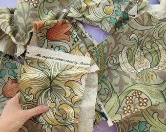 750g Sanderson Upholstery Fabric, scraps / offcuts, bag of small pieces, linen, Golden Lily Minor, sewing, craft supplies, green, botanical