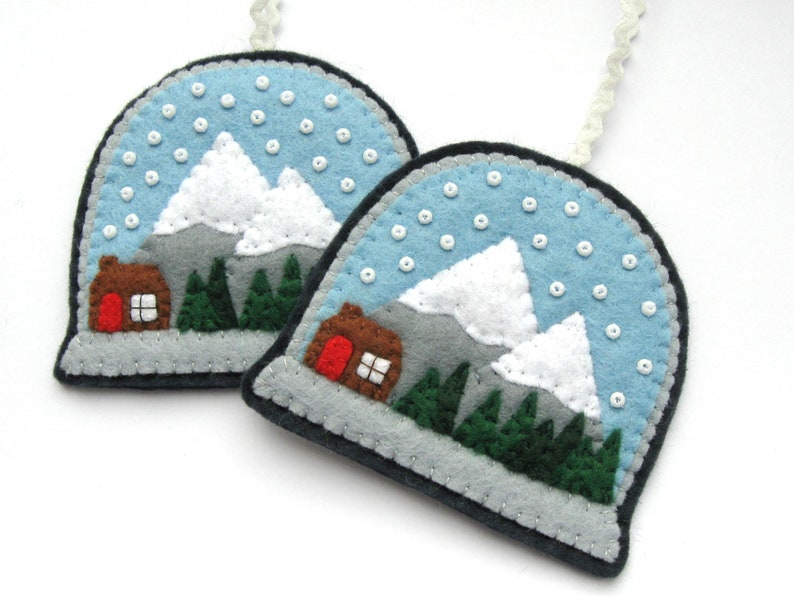 Snow Globes PDF Pattern  Felt Christmas Ornament Sewing image 0