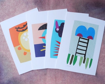 Abstract Collage Cards, Series 2 - Set of 4