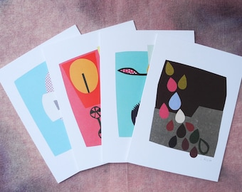 Abstract Collage Cards, Series 1 - Set of 4