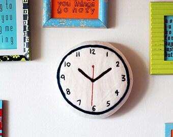 Soft Sculpture Clock . Teal Felt