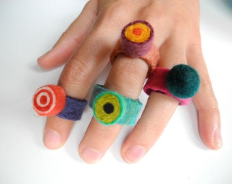 Felted Candy Ring . Red Bullseye