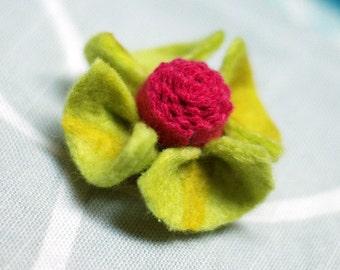 Felted Flower Brooch . Yellow Green
