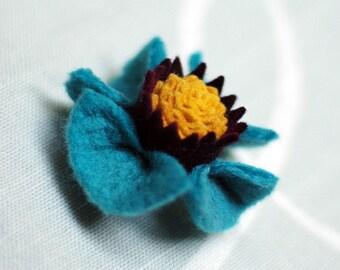 Felted Flower Brooch. Blue and Mustard
