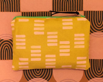 yellow and pink zipper pouch - handmade costmetic bag, pencil pouch
