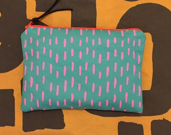Teal and pink zipper pouch - handmade cosmetic bag, pencil pouch