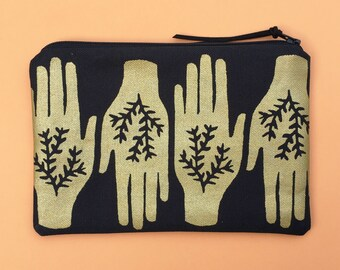 black and gold hands print zipper pouch - handprinted cnavas cosmetic pouch, pencil pouch, organizer